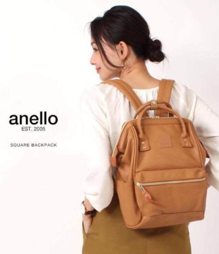 ยี่ห้อไหนดี  โคราชกรุงเทพมหานคร Anello PU Leather สีค่าเมล ของแท้ กระเป๋าเป้สะพายหลังรุ่นหนังนิ่ม ไซส์มินิ กว้าง 23x สูง 36x หนา17cm