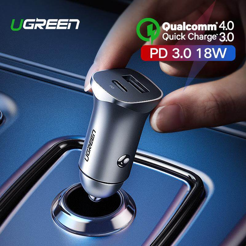UGREEN Car Charger PD+QC3.0 Dual Ports Charger for iPhone 11, XR, XS, Redmi Note 7, Samsung S10+, Realme, Vivo, Oppo, ASUS, LG Fast Car Charger for Mobile Phone