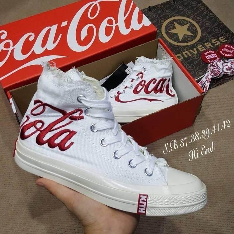 ยี่ห้อไหนดี  ประจวบคีรีขันธ์ รองเท้าผ้าใบแฟชั่น รองเท้าผ้าใบผู้หญิงหุ้มข้อConverse all star coca cola