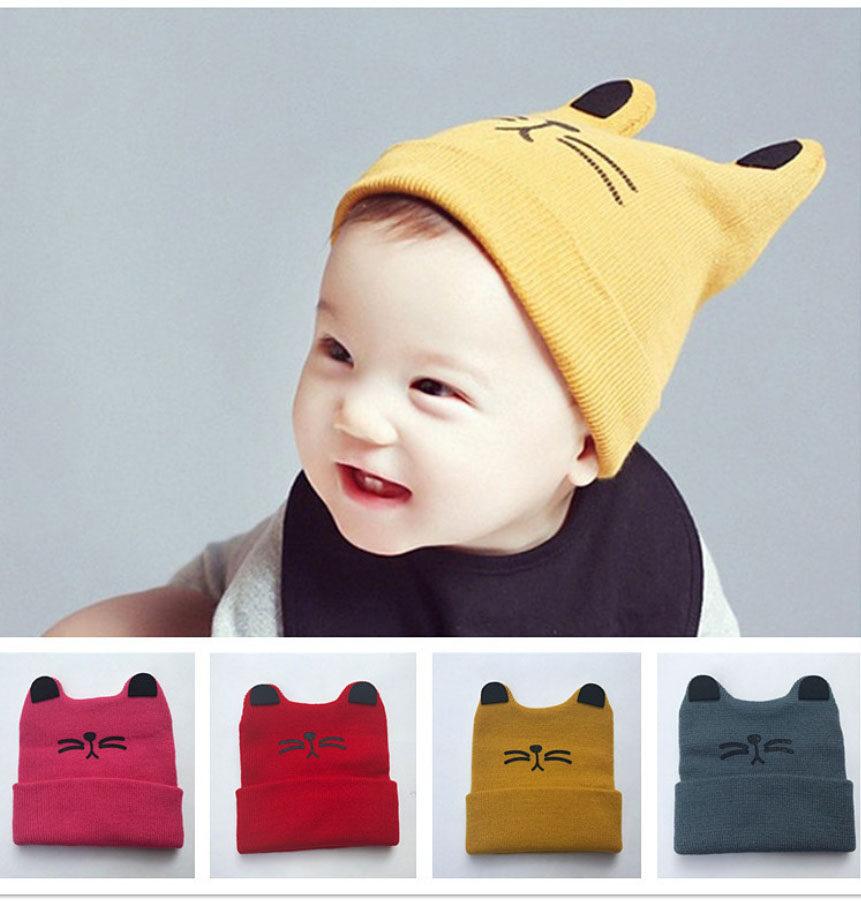 หมวกไหมพรมเด็ก พิมพ์ลายหน้าน้องแมว หมวกมีหู น่ารัก