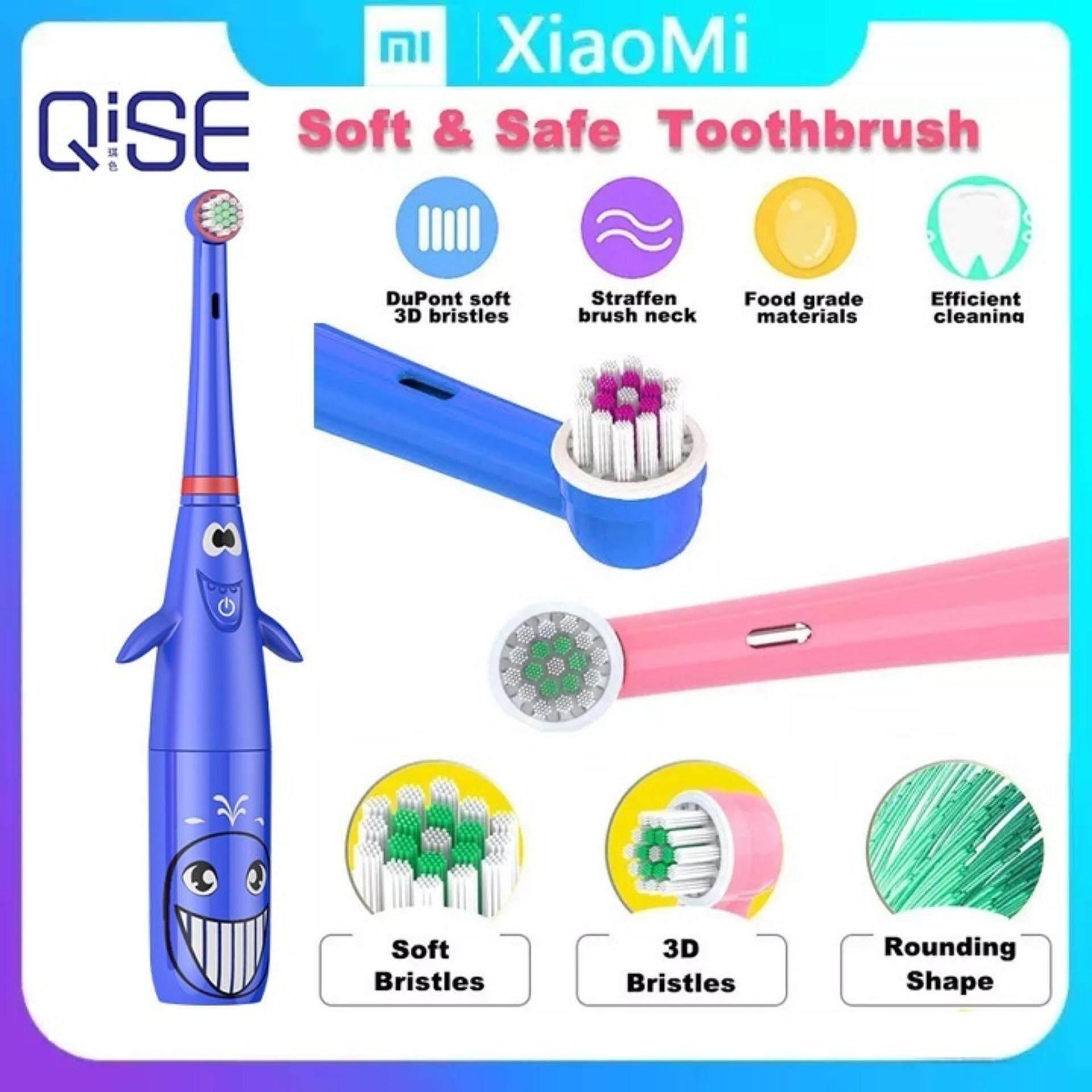 สมุทรสาคร Xiaomi QISE Cartoon Children เด็กแปรงสีฟันไฟฟ้า Electric Toothbrush With Handle Rotate Soft Hair Dental Care Massage Tooth Brush Baby Kids Oral Clean Products