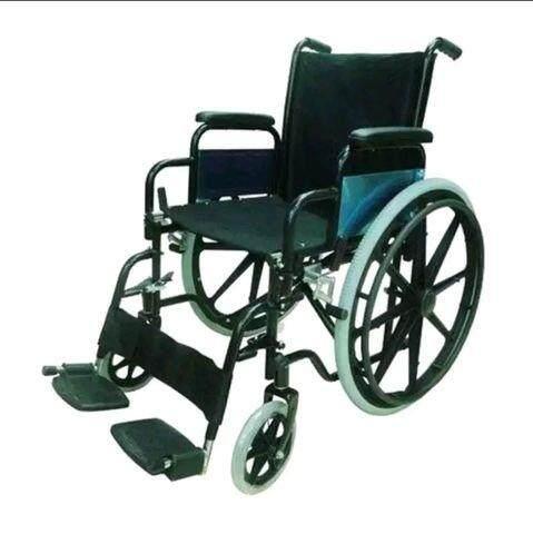 ขายดีมาก! AOLIKE รถเข็นผู้ป่วย Wheelchair วีลแชร์ พับได้ โครงเหล็กชุบดำ รุ่น ALK903B-46