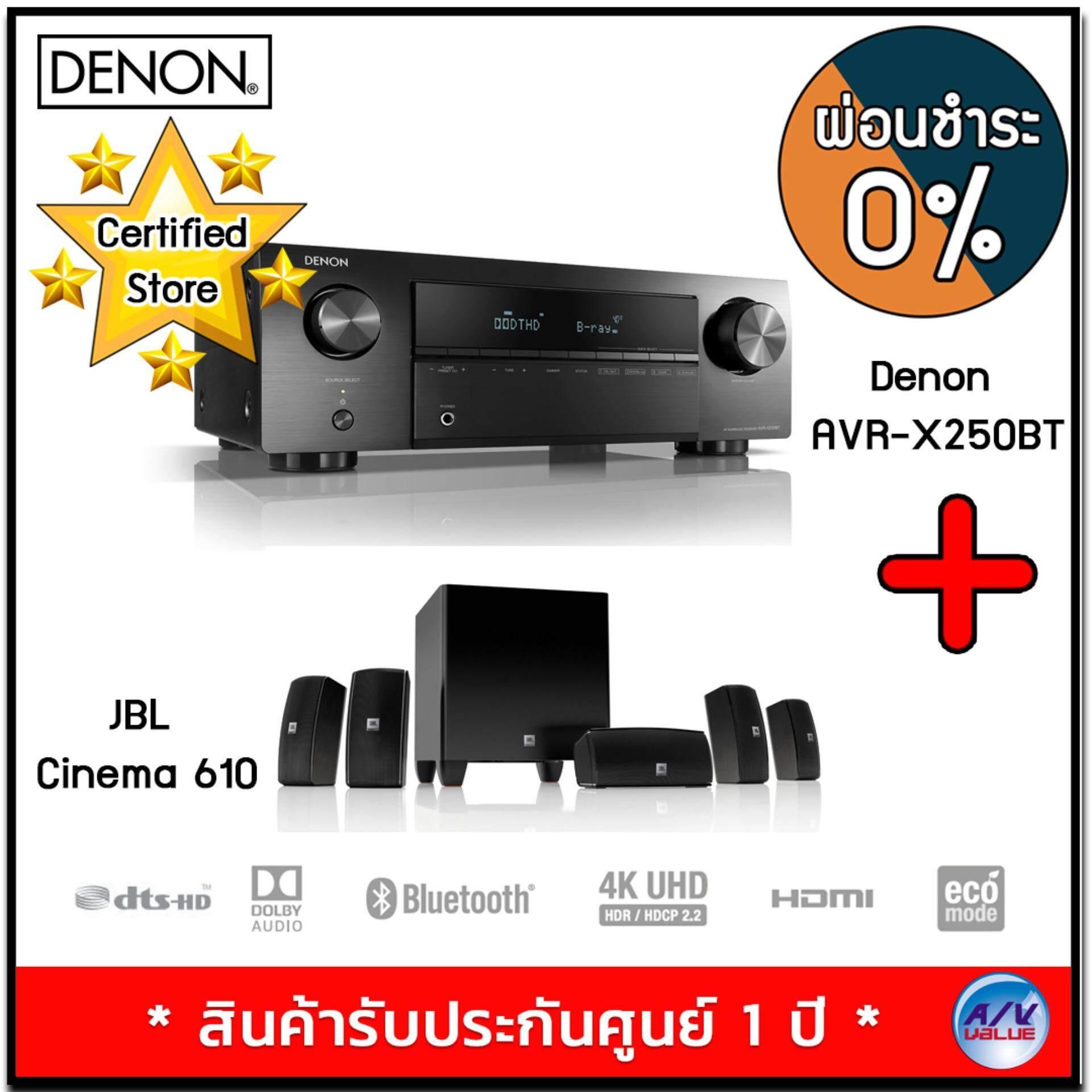 ยี่ห้อไหนดี  ขอนแก่น Denon AVR-X250BT 5.1 Ch. 4K Ultra HD AV Receiver with Bluetooth + JBL Cinema 610