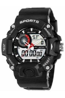 ALIKE นาฬิกาข้อมือชาย 2 ระบบ สไตล์สปอร์ต สายพลาสติก - สีดำ