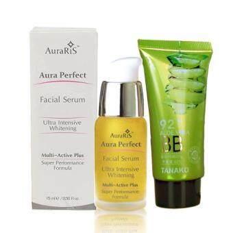 AuraRIS เซรั่ม บำรุงผิวหน้า ครีมหน้าขาว AuraRIS Facial Serum 15 ml.+ Tanako BB Cream Aloe Vera บีบีครีม ผสมสารสกัดว่านหางจระเข้ 92% ปัองกันแดด SPF15 ครีมรองพื้น เนื้อเนียนบางเบา เกลี่ยง่าย ซึมไว ไม่ทิ้งคราบ ปกปิด ริ้วรอย สิวฝ้ากระ จุดด่างดำ