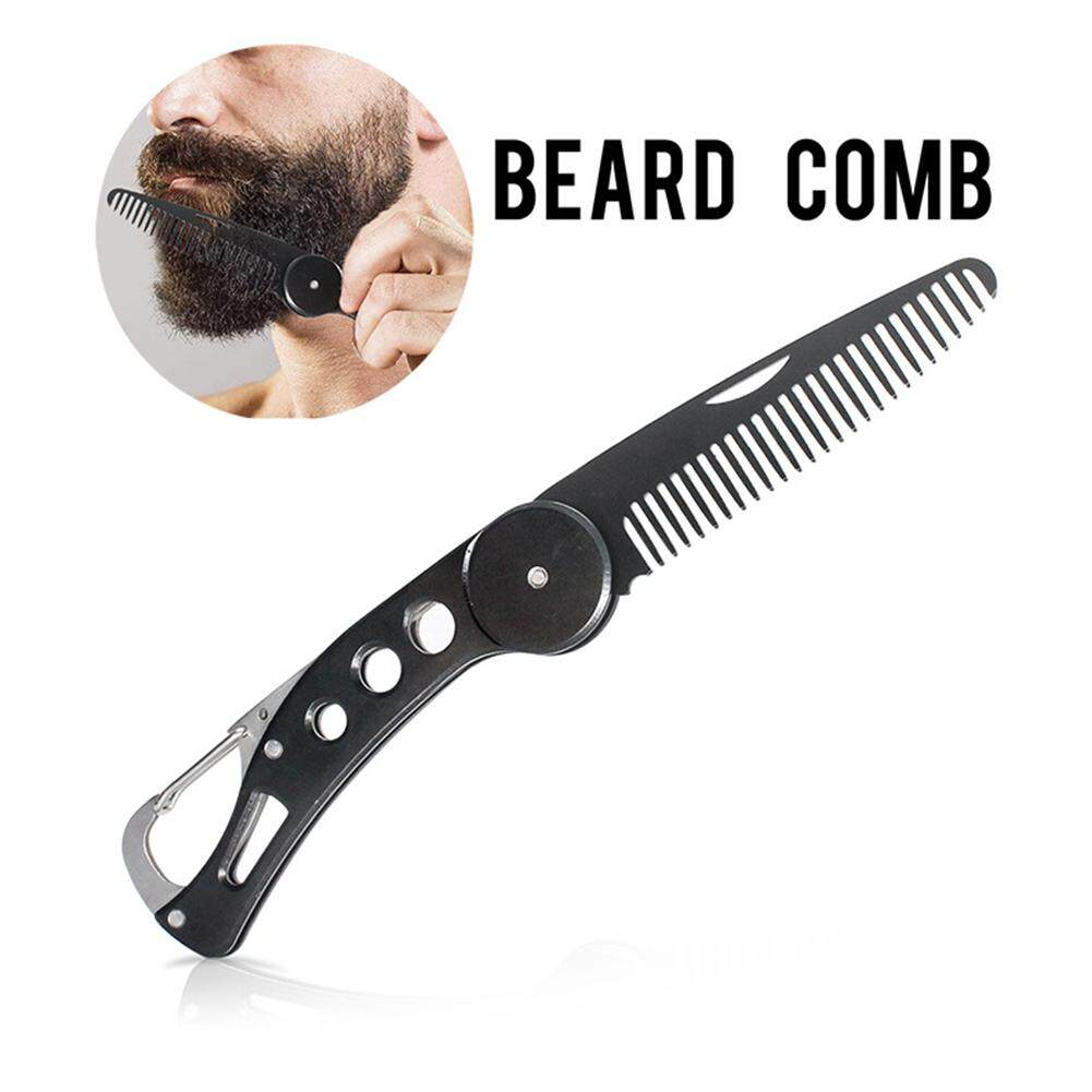 Big Sale Portable Foldable Stainless Steel Beard Comb Straightening Comb  Men Beard Styling Tool Material:stainless steel