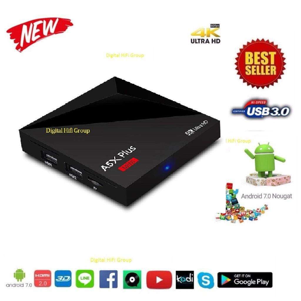ยี่ห้อไหนดี  ตรัง Android Smart Box A5X Plus UHD 4K 64Bit RK3328 Cpu Android Nougat 7.0