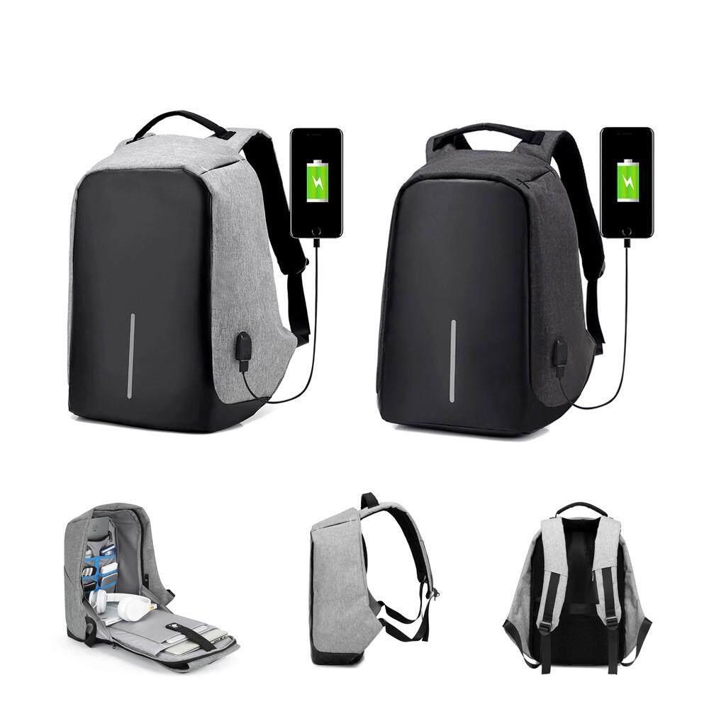 ขายดีมาก! จัดส่งฟรี Kerry Anti-Theft Backpack แฟชั่นสะพายหลัง กระเป๋าผู้ชาย กระเป๋าเป้ 1 พอร์ต USB ชาร์จแบต