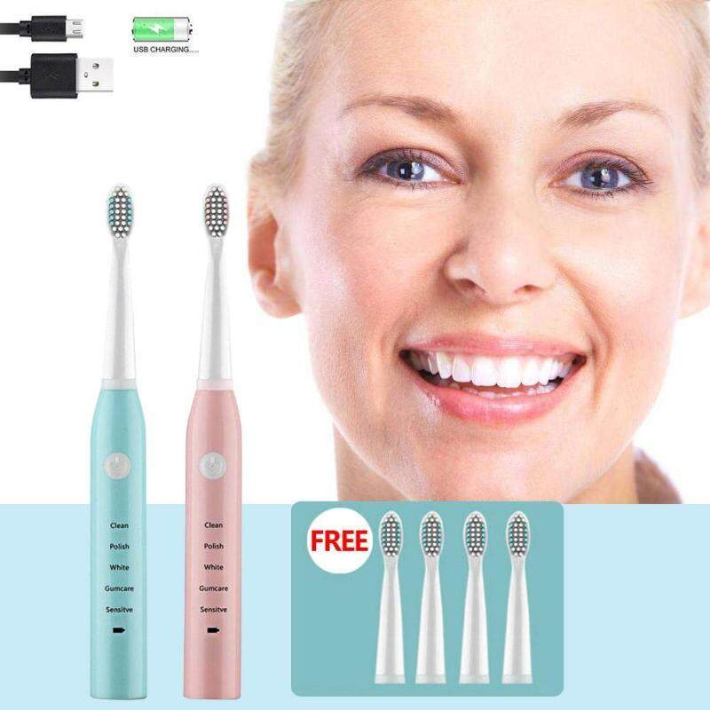 แปรงสีฟันไฟฟ้า ช่วยดูแลสุขภาพช่องปาก ชลบุรี New 4 Heads Sonic Electric Toothbrush Rechargeable USB Charger Teeth Tooth Brush Professional 5 Modes for Children Adult
