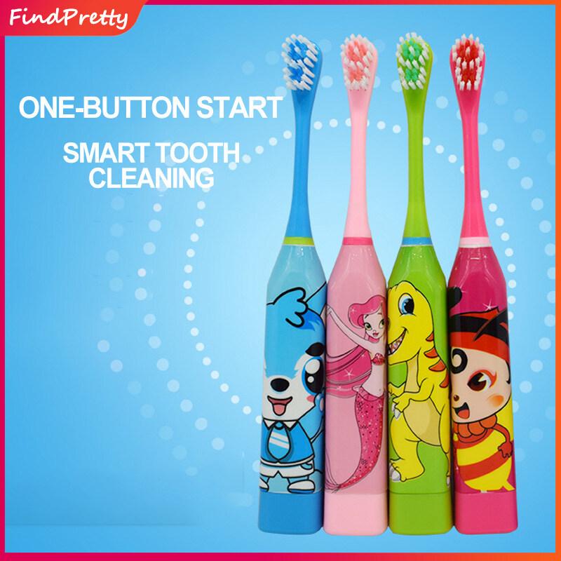 แปรงสีฟันไฟฟ้าเพื่อรอยยิ้มขาวสดใส ระนอง FindPretty แปรงสีฟันไฟฟ้าสำหรับเด็กแปรงขนนุ่ม แปรงสีฟันไฟฟ้าสั่นสะเทือนโซนิคอัจฉริยะพร้อมไฟ Children Cartoon Pattern Acoustic Wave Electric Toothbrush Kids Cute Soft Hair Electric Toothbrush