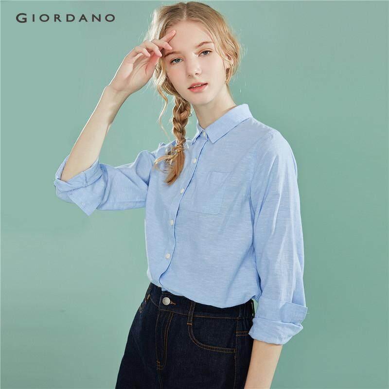 Giordano เสื้อเชิ้ตแขนยาวกระเป๋าข้างเดียว ผ้าฝ้าย ลินินธรรมชาติ Free Shipping 05349487
