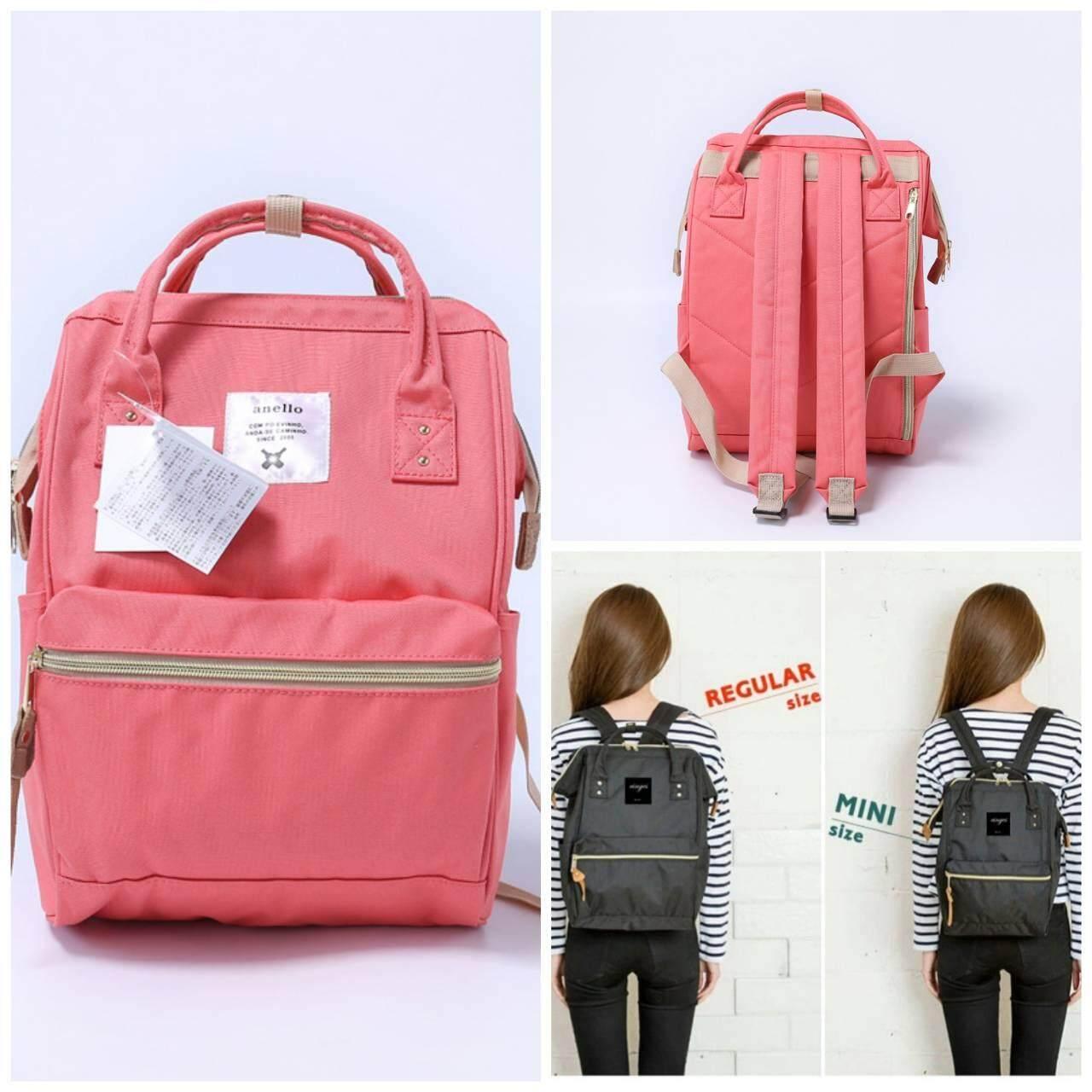 สอนใช้งาน  พังงา Anello Mini Backpack ชมพูโอโรส