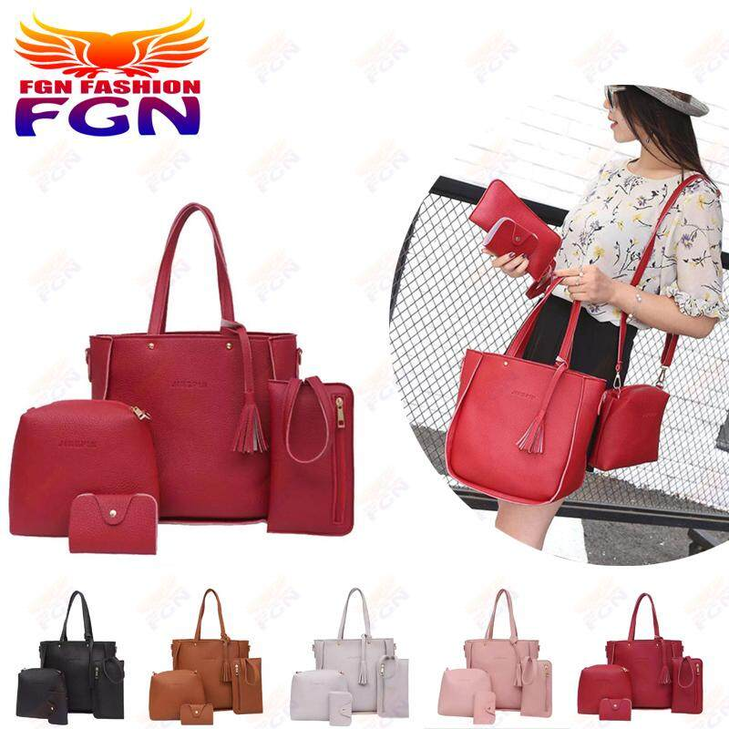 กระเป๋าเป้ นักเรียน ผู้หญิง วัยรุ่น น่าน FGN ชุด 4 ชิ้นกระเป๋าผู้หญิง กระเป๋าสะพายกระเป๋าถือ   Crossbody   คลัทช์   กระเป๋าเก็บบัตร  Fashion Bag FGN 078(สีแดง)