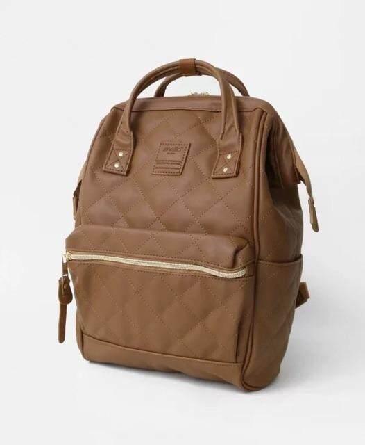 สอนใช้งาน  พัทลุง สีคาเมล ไซส์มินิ  Anello Quilting Hinge Clasp Backpack รุ่นหนังเย็บ ขนาด กว้าง24*สูง 35* หนา 14 ซม