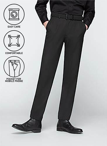 กาญจนบุรี GQSize กางเกงขายาว - GQ  Slacks  Long Panst TR Fabric Solid  130-611326  Black
