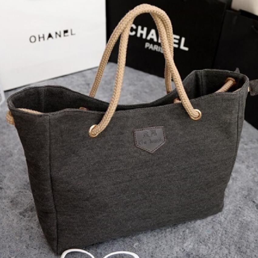 พิษณุโลก BB Bags กระเเป๋าแฟชั่นสะพายบ่า พร้อมถือ สายเชือกกระเป๋าผ้า รุ่น304  สีดำ