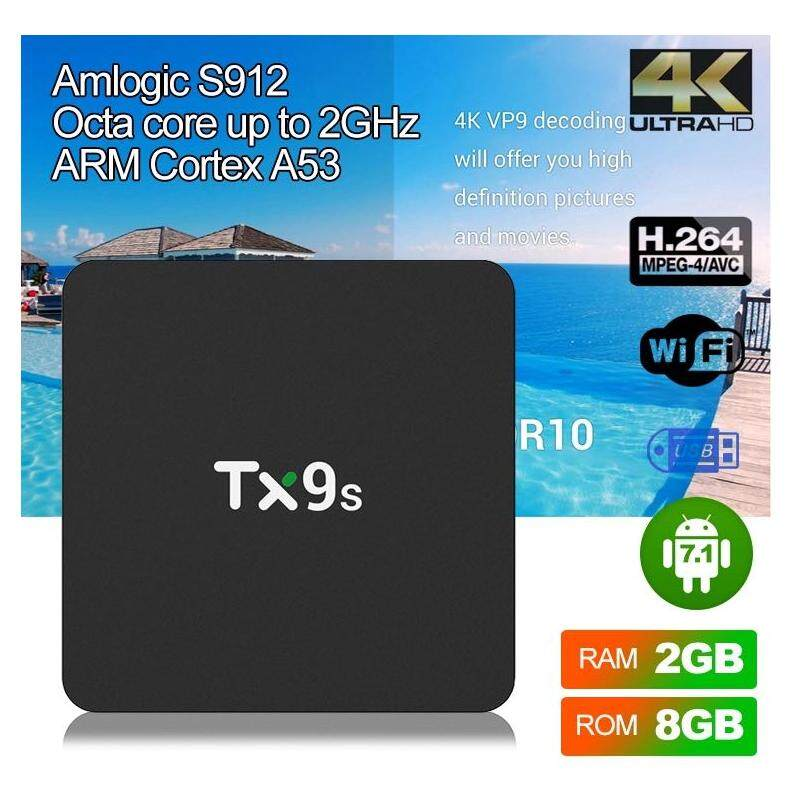 มุกดาหาร TX9S Amlogic S912 Octa Core TV Box Android 7.1 2GB 8GB Media Player 2.4G WiFi 100M LAN 4K HD ชุดกล่องด้านบน PK X96 mini