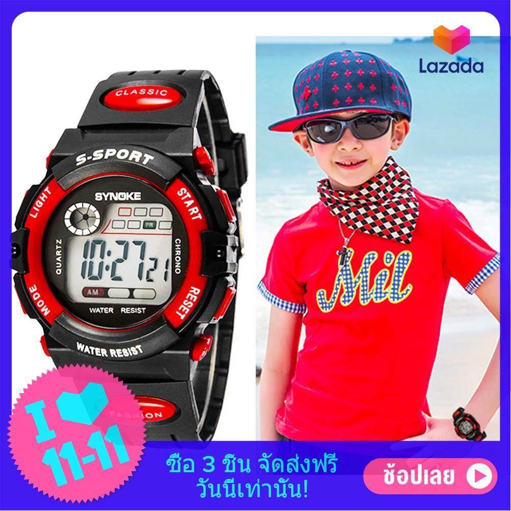 เด็กหนุ่มเด็กสาวหลายฟังก์ชันที่กันน้ำนาฬิกาข้อมืออิเล็กทรอนิกส์กีฬาสีแดง