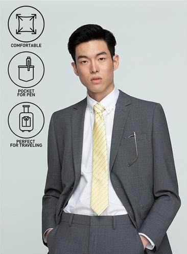 GQWhite ดีไหม ตรัง GQSize เสื้อสูท - GQ  Suit  Long Sleeve Single Breasted TR Fabric Solid  140-111297  Gray
