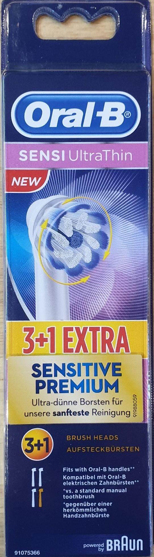 แปรงสีฟันไฟฟ้าเพื่อรอยยิ้มขาวสดใส สระบุรี หัวแปรงสีฟัน Oral B รุ่น Sensi UltraThin 4 หัวแปรง ของแท้ จาก Germany