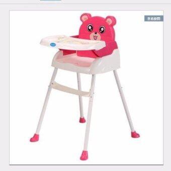 BH เก้าอี้เสริมทานข้าว รุ่นพกพาได้ ลายการ์ตูน สีชมพู
