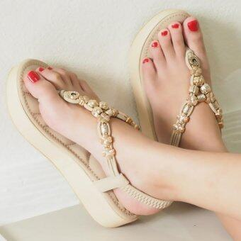 BLOVESHOES Plush Muffin Sandals289 สีแอพริคอท (Apricot) รองเท้าส้นมัฟฟินเสริมฟองนุ่มรัดข้อยางยืดหลัง