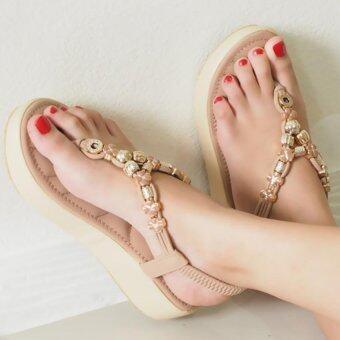 BLOVESHOES Plush Muffin Sandals289 สีชมพู (Pink) รองเท้าส้นมัฟฟินเสริมฟองนุ่มรัดข้อยางยืดหลัง