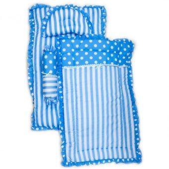 By Twelve เบาะนอนเด็ก ที่นอนเด็กอ่อน cotton ครบชุด เบาะ ผ้าห่ม หมอนและหมอนข้าง เซท 4 ชิ้น สีฟ้า แถมตุ๊กตากระดิ่งมือถือ (คละแบบ) มูลค่า 60 บาท