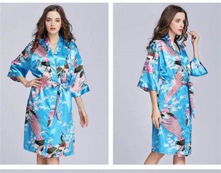 ชุดนอนหญิงฤดูร้อนกิโมโนชุดนอนนกยูงนกยูงลูกไม้เสื้อคาร์ดิแกนวอร์มฤดูร้อนผ้าไหมชุดนอนชุดนอนชุดนอนหญิง