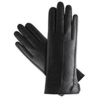 Cadson ถุงมือทัชสกรีนกันหนาวหญิง หนัง PU(สีดำ)