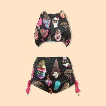 candy aholicIcecream set [สีดำ] ชุดว่ายน้ำ ทูพีทแนววินเทจ บราผูกหลังลายไอศกรีม กางเกงเอวสูง