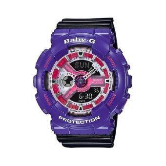 Casio Baby-G นาฬิกาข้อมือผู้หญิง สีม่วง/ดำ สายเรซิ่น รุ่น BA-110NC-6A