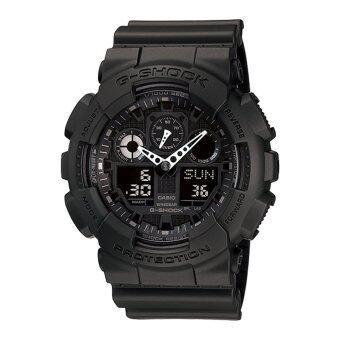 Casio G-SHOCK นาฬิกาข้อมือใส่ได้ทั้งผู้ชาย – ผู้หญิง สายเรซิน สีดำ รุ่น GA-100-1A1DR ประกัน CMG
