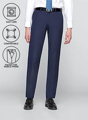 GQWhite ดีไหม กระบี่ GQSize กางเกงขายาว - GQ  Slacks  Long Panst TR Fabric Solid  130-810770  Navy