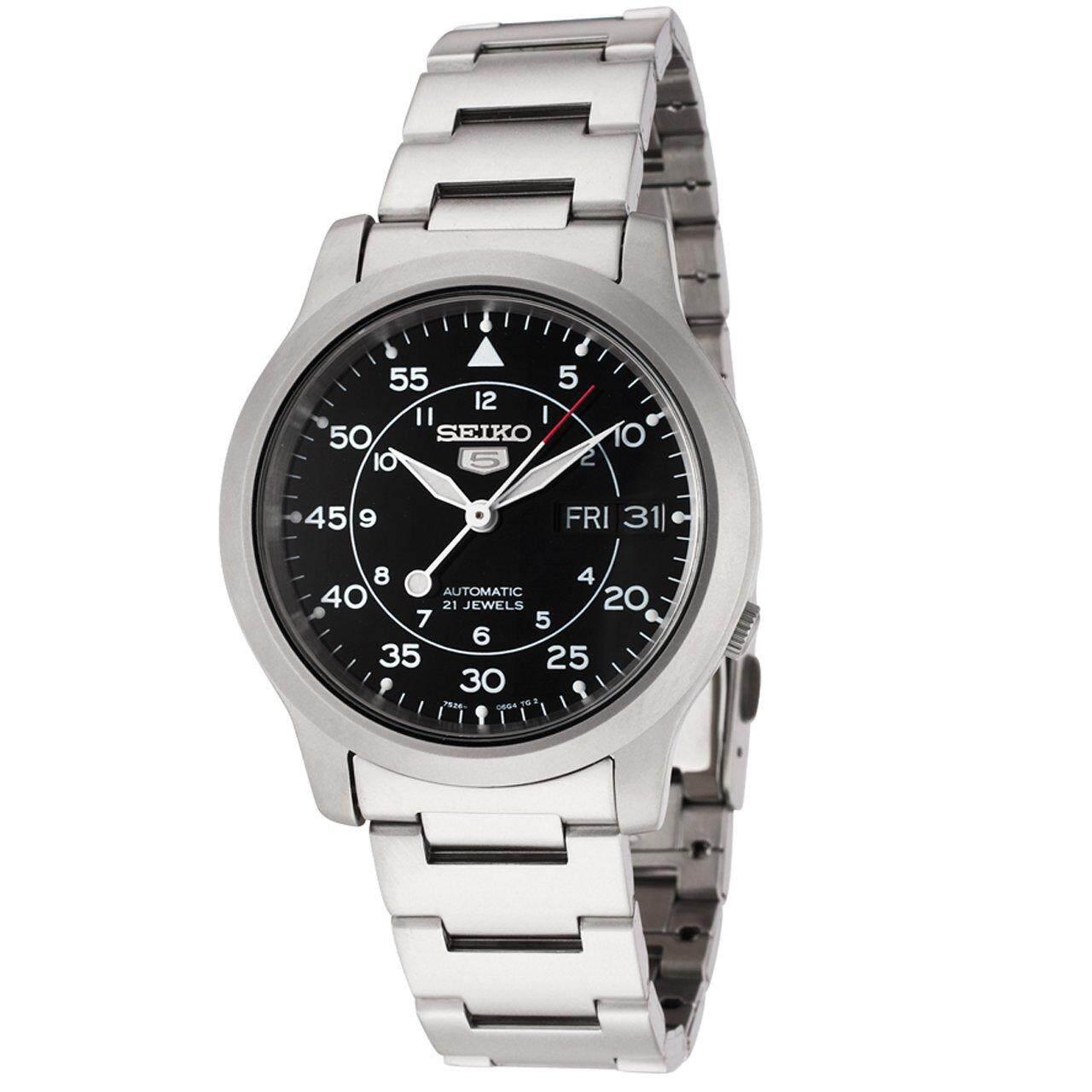สอนใช้งาน  กาฬสินธุ์ JamesMobile นาฬิกาข้อมือผู้ชาย Seiko 5 Military Automatic รุ่น SNK809K1 นาฬิกากันน้ำ100เมตร นาฬิกาสายสแตนเลส - Black