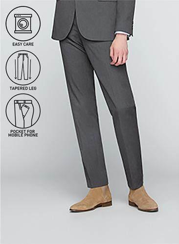 โปรโมชั่น GQWhite  ชุมพร GQSize กางเกงขายาว - GQ  Slacks  Long Pants Wool Blend Fabric Solid  130-810821  Gray