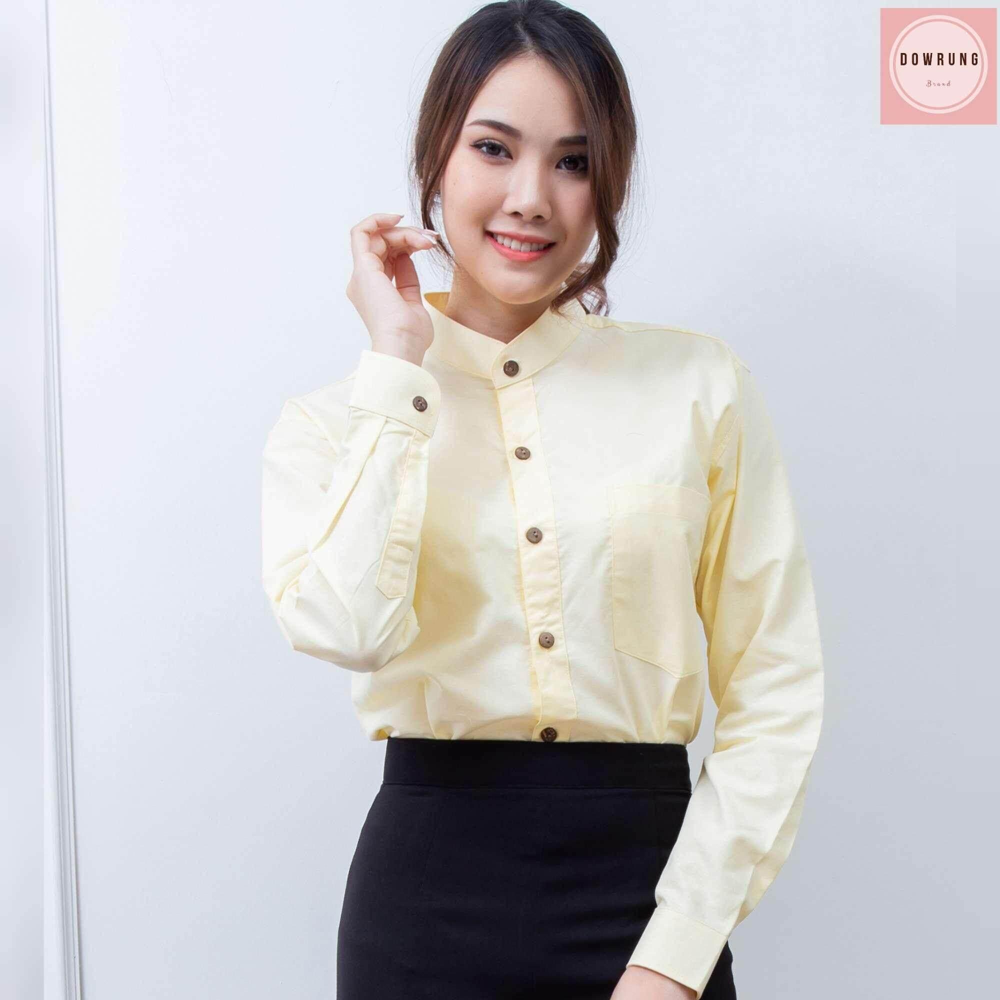 เสื้อเชิ้ตคอจีนแขนยาวสีเหลืองอ่อนทรงเข้ารูป slimfit สามารถใส่ได้ทั้งชายและหญิง unisex เนื้อผ้าoxfordเกรดพรีเมียมนำเข้าจากญี่ปุ่น ถ่ายแบบจากสินค้าจริง