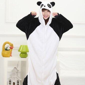 ชุดนอนมาสคอตผู้ใหญ่ ชุดนอนตัวการ์ตูน ชุดแฟนซี mascot suit ลายแพนด้า Panda รุ่นผ้าหนาขนนุ่มพิเศษ มีhood(สีขาวดำ)