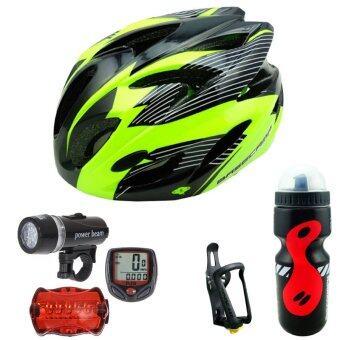 CMA หมวกจักรยาน BC-300 สีเขียว+Sunding ไมค์จักรยาน สีแดง + ไฟชุดจักรยานรุ่น WJ-101 สีดำ+กระบอกน้ำ 650 มล. สีดำ+ขาจับ TMD05B สีดำ