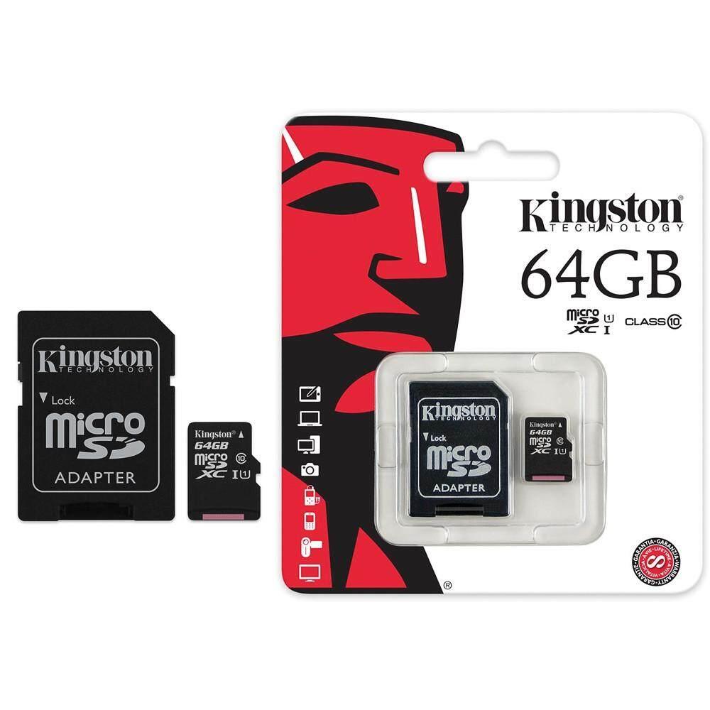 เก็บเงินปลายทางได้ 64 GB MICRO SD CARD KINGSTON CLASS 10  รับประกันของแท้ ฟรีค่าจัดส่ง Kerry Express ส่งด่วน
