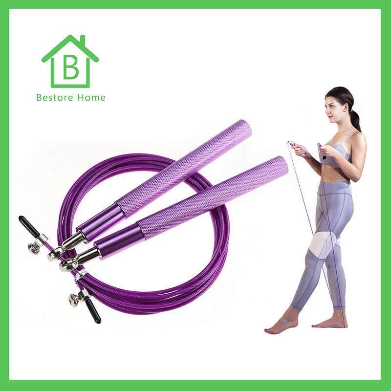 BestoreHome เชือกกระโดด ด้ามอลูมิเนียม สายเคเบิลโลหะหุ้ม PVC ทนทาน ออกกำลังกาย ลดไขมัน สร้างกล้าม