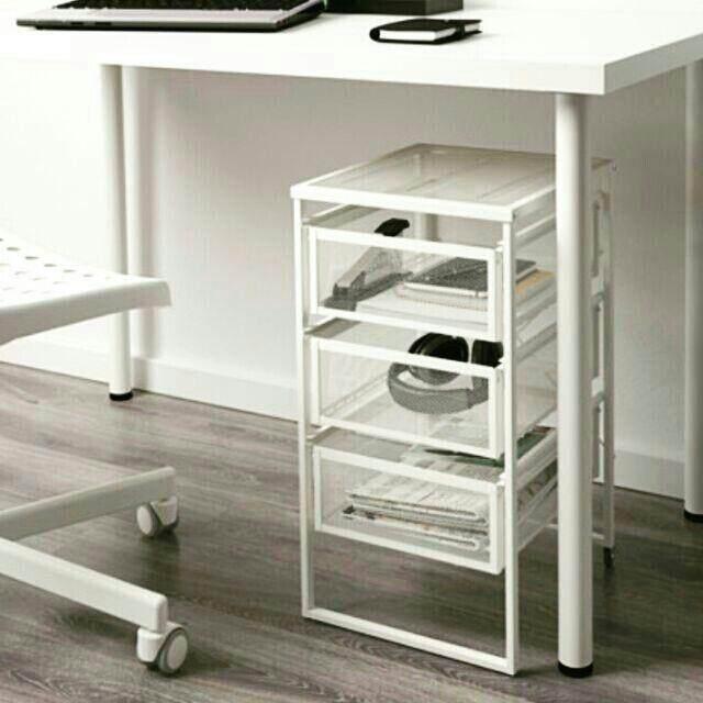 ขายดีมาก! **ส่งฟรี KERRY**IKEA ตู้ลิ้นชัก/ตู้เก็บกระดาษ ตะแกรงเหล็กสีขาว 3 ชั้น มีล้อ