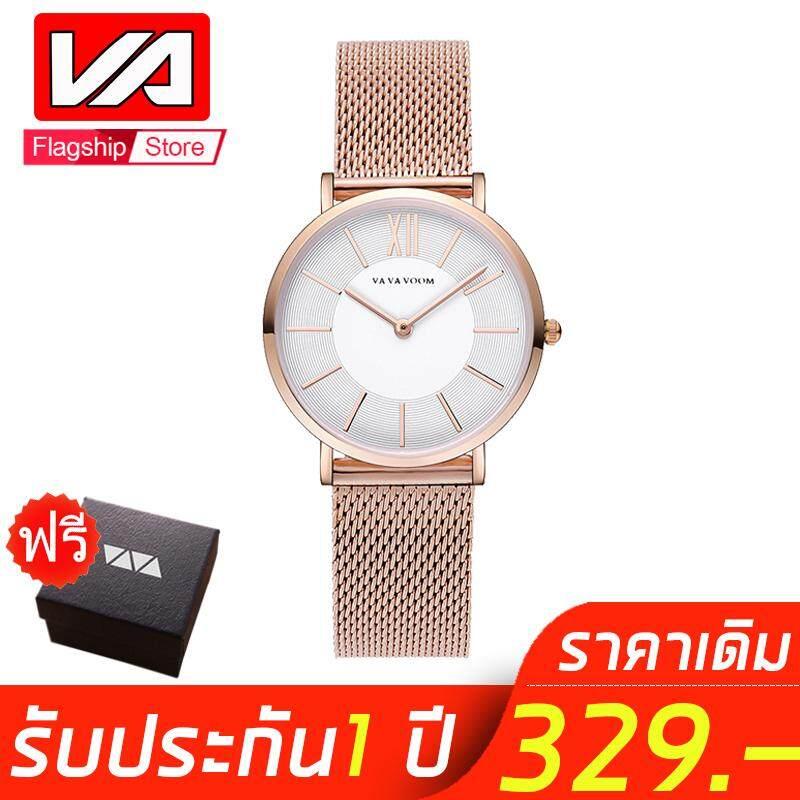 VA VA VOOM สบาย นาฬิกาข้อมือผู้หญิง นาฬิกา นาฬิกาข้อมือ เครื่องCasio สายเหล็กสแตนเลส Sport Watch for Women Original Simple Minimalist Fashion Quartz Watches Brown Business Casual Leather Waterproof Wristwatch