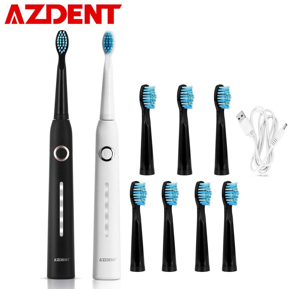 แปรงสีฟันไฟฟ้า ช่วยดูแลสุขภาพช่องปาก นครราชสีมา AZDENT แปรงสีฟันไฟฟ้าอัลตราโซนิกสำหรับชาร์จเดินทางแบบพกพาNew 5 Modes AZ 9 Pro Sonic Electric Toothbrush USB Rechargeable  8 Replacement Heads Waterproof Timer for Adults Tooth Brush Hot