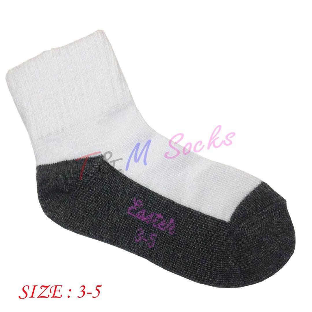 T&M socks จัดส่งโดย Kerry ถุงเท้านักเรียน สีขาวพื้นเทา ผ้าหนา ไซส์ set 1 คู่