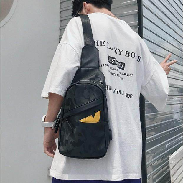 """""""ส่งฟรี KERRY"""" รุ่น NE810 กระเป๋าผู้ชายคาดอก คาดไหล่ สะพายหลัง  หนัง PU  - สีดำ"""
