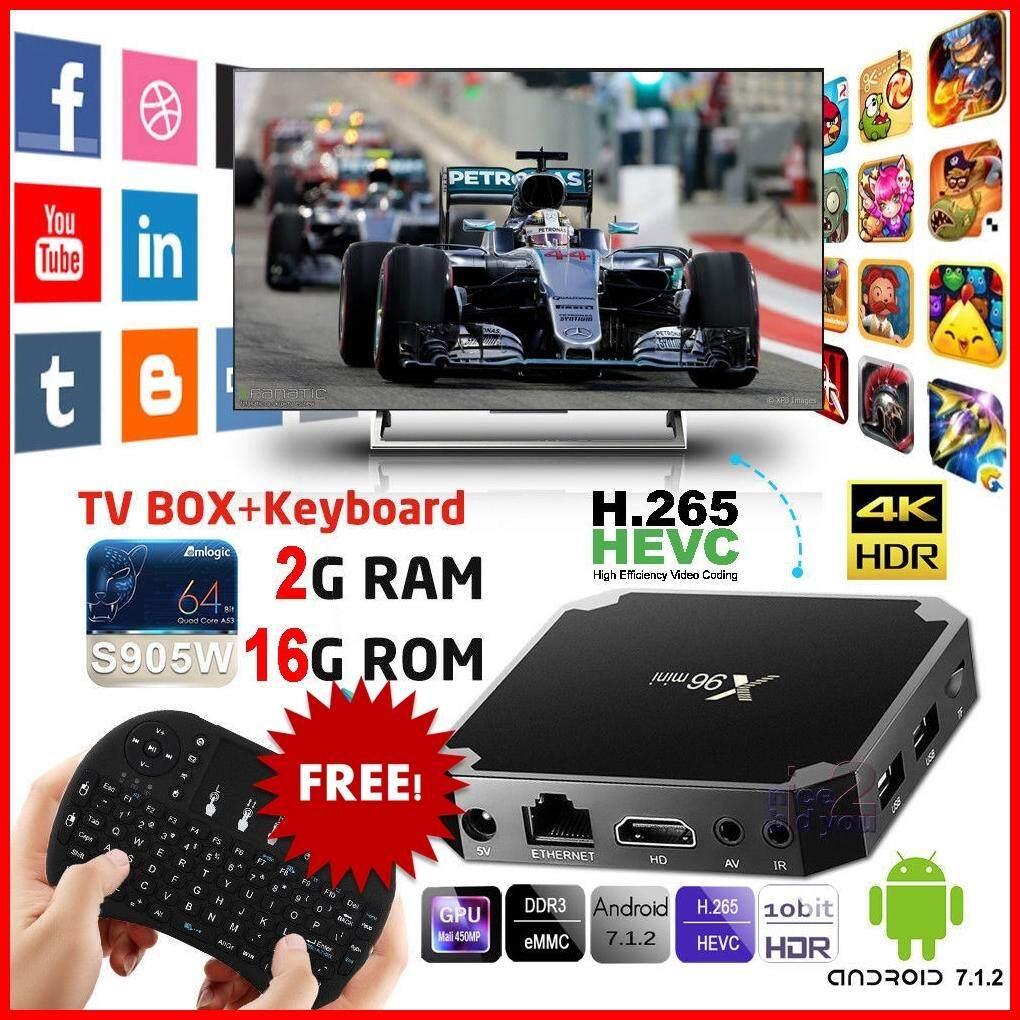 ยี่ห้อไหนดี  กาญจนบุรี กล่องแอนดรอยด์ทีวี Android 7.1.2 BOX สมาร์ททีวี แอนดรอยด์ทีวี ดิจิตอลแอนดรอยด์ทีวี แอนดรอยด์บ็อกซ์ Android TV Box Smart TV Box รุ่น X96 mini S905W 4K Ram 2 GB   Rom 16 GB FREE MINI 8