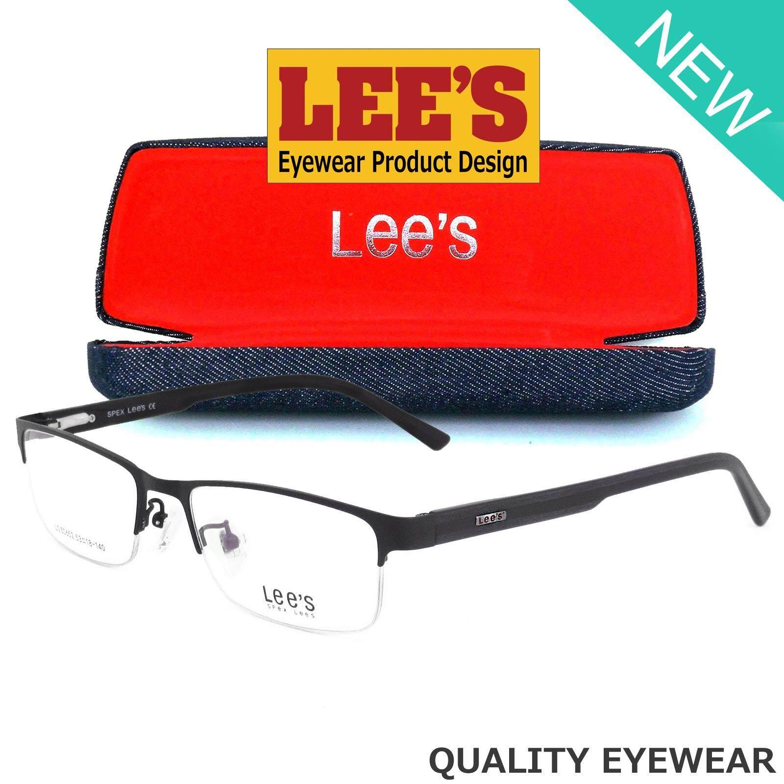 Lee's แว่นตา รุ่น 50652 C-1 สีดำ กรอบเซาะร่อง Rectangle ทรงสี่เหลี่ยมผืนผ้า ขาสปริง วัสดุ สแตนเลส สตีล (สำหรับตัดเลนส์) กรอบแว่นตา สวมใส่สบาย น้ำหนักเบา มีความแข็งแรงทนทาน Gouging frame Eyeglass Spring legs Stainless Steel material Eyewear Top Glasses