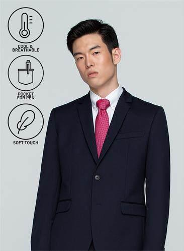 นครศรีธรรมราช GQSize เสื้อสูท - GQ  Suit  Long Sleeve Single Breasted Wool Blend Fabric Solid  140-111316  Navy