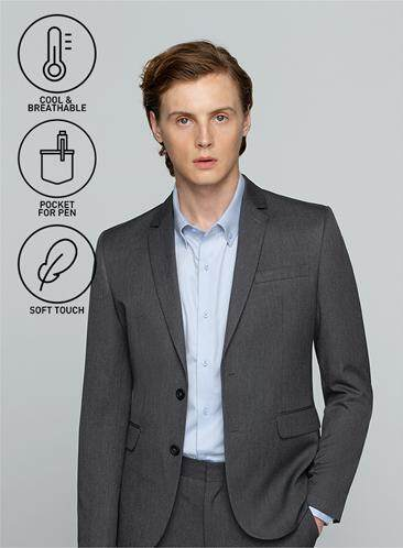 GQWhite ดีไหม บึงกาฬ GQSize เสื้อสูท - Suit  Long Sleeve Single Breasted Wool Blend Fabric Solid  140-111320 Gray